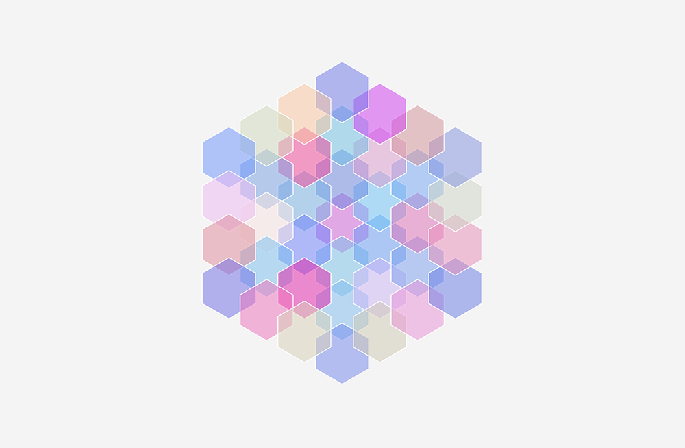 A digital hexagon pattern made up of smaller colorful hexagons.